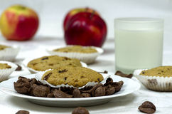 Muffins with a glass of milk Royalty Free Stock Photo