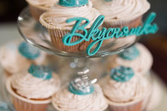 Muffins. With glaze in a vase closeup Royalty Free Stock Image