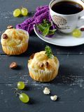 Muffins with grapes Stock Photo