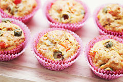 Muffins with green olives Stock Photography