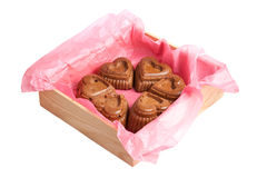 Muffins in a heart shape isolated on a white Royalty Free Stock Photo