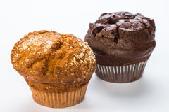 Muffins. Homemade muffins isolated on white royalty free stock photos