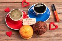 Muffins i tkanin serca Obraz Royalty Free