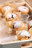 Muffins with jam sprinkled with powdered sugar on wooden tray Royalty Free Stock Photo
