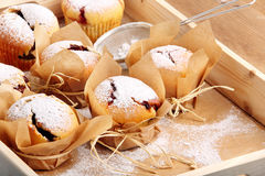 Muffins with jam sprinkled with powdered sugar Royalty Free Stock Images