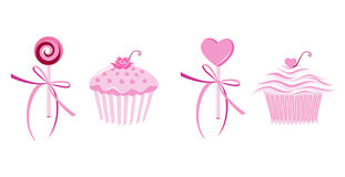 Muffins and lollipops. A set of muffins and lollipops Royalty Free Stock Photos