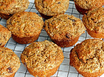 Muffins Made from Scratch. Banana-chocolate chip muffins packed with the goodness of fiber make a healthy snack any time of day Stock Image