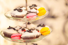 Muffins and marshmallows on glass plates Stock Photography