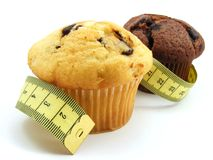 Muffins with measuring tape Stock Photo