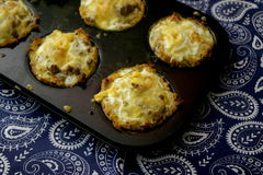 Muffins of meat. Some muffins of minced meat with cheese royalty free stock image