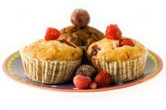 Muffins met framboos Royalty-vrije Stock Afbeeldingen