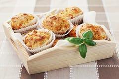Muffins met ham en kaas Stock Afbeelding