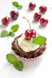 Muffins met kers stock foto's