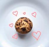 Muffins met liefde Royalty-vrije Stock Fotografie