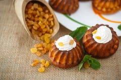 Muffins met roomkaas en rozijnen Stock Foto