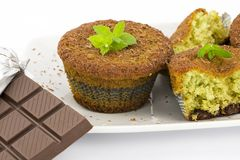 Muffins with mint and chocolate Royalty Free Stock Photos