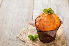 Muffins with mint. The Muffins with mint on a wooden table Stock Photography
