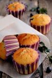Muffins mit Blaubeeren und Schokoladentropfen. Stockfotos