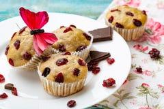 Muffins mit Kirsche auf einem blauen Hintergrund, horizontal Lizenzfreie Stockfotografie