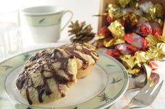 Muffins mit Schokoladen-Spitze stockbild