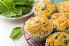 Muffins mit Spinat, Süßkartoffeln und Käse Stockfotografie