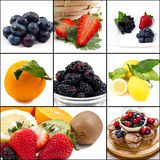 Muffins mixed. Mixed muffins fruits and ingredients collage on wooden board Royalty Free Stock Photo