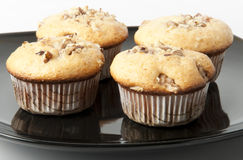 Muffins with nuts. Great cake with walnuts, close-up Royalty Free Stock Photos