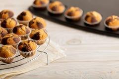 Muffins op een plaat op lichte houten achtergrond Stock Foto's