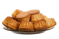 Muffins op plaat Stock Fotografie