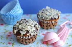 Muffins Or Cupcakes Topped With Chocolate And Almo Royalty Free Stock Photo