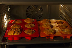 Muffins in oven Stock Image