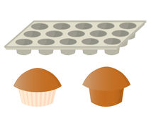 Muffins and pan. Muffins and an empty muffin baking pan on a white background vector illustration