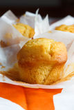 Muffins in paper cupake holder. Maffin with butter and lemon in paper Royalty Free Stock Photo