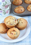 Muffins with peaches Stock Images