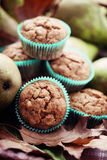 Muffins with pear stock images