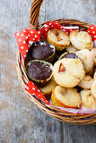 Muffins in picnic basket Stock Image