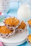 Muffins Pina Colada met ananas en kokosnoot Stock Fotografie
