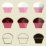 Muffins. Pink and white, pink and brown, black outlines and contours of muffins on the light gray background Stock Photography