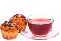 Cup of tea and muffins on white isolated Stock Photography