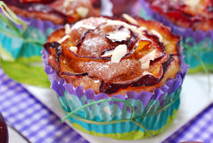 Muffins with plums and almonds Royalty Free Stock Photo