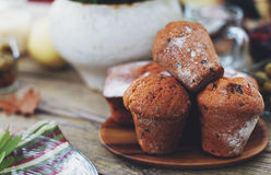 Muffins with raisins. Tasty muffins with raisins sprinkled with powdered sugar Stock Photo