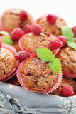 Muffins with raspberries Stock Photography
