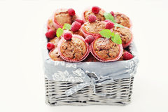 Muffins with raspberries Royalty Free Stock Photo