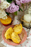 Muffins with a rhubarb Stock Photos
