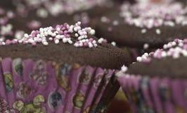 Muffins in Roze Vormen Royalty-vrije Stock Foto's