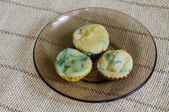 Muffins with salmon, spinach and cheese Royalty Free Stock Photo