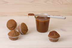 Muffins with salted caramel Royalty Free Stock Photo