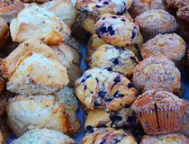 Muffins and Scones Take Their Place at Farmer`s Market royalty free stock image