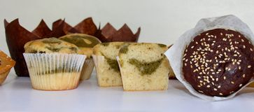 Muffins selection for breakfast or snack royalty free stock photo