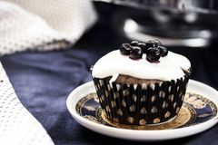 Muffins from semolina with blueberry jam and cream Stock Photo